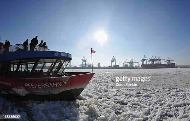 The Reeperbahn boat sails along the river Elbe on February 6 2012 in Hamburg GermanyThe current cold front that has claimed over 200 lives in eastern...