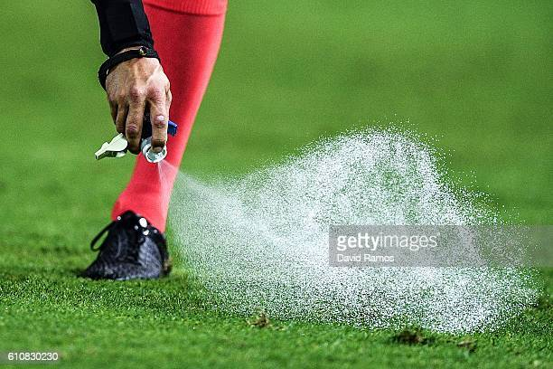 The referee Bas Nijhuis uses vanishing spray during the UEFA Champions League Group H match between Sevilla FC and Olympique Lyonnais at the Ramon...