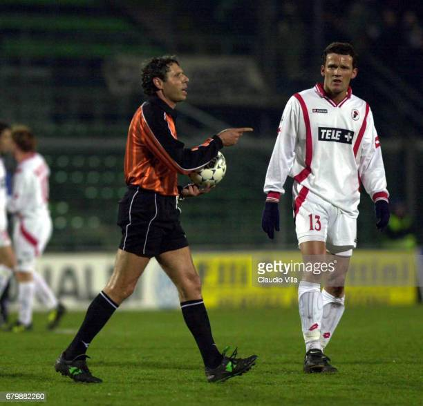 the referee Bolognino and Duccio Innocenti of Bari during a SERIE A 20th Round League match between Atalanta and Bari played at the Azzurri d'Italia...