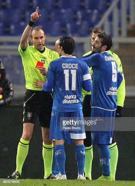 The Referee Carmine Russo shows the red card to Riccardo Saponara of Empoli FC during the Serie A match between AS Roma and Empoli FC at Stadio...