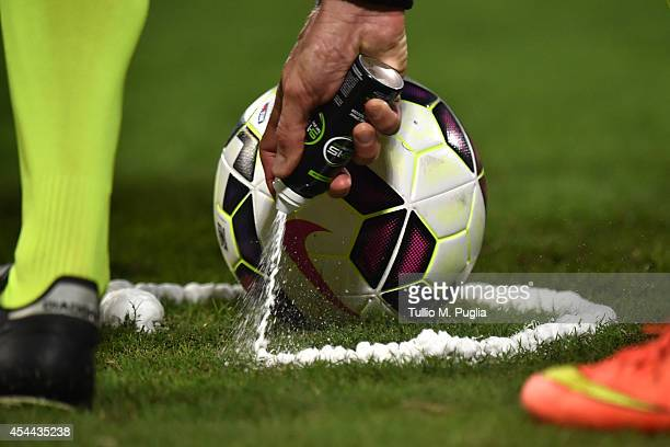 The referee Dino Tommasi marks a line on the pitch with spray foam during the Serie A match between US Citta di Palermo and UC Sampdoria at Stadio...