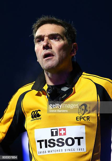 The Referee Jerome Garces during the European Rugby Champions Cup pool one match between Saracens and Ulster at Allianz Park on January 16 2016 in...