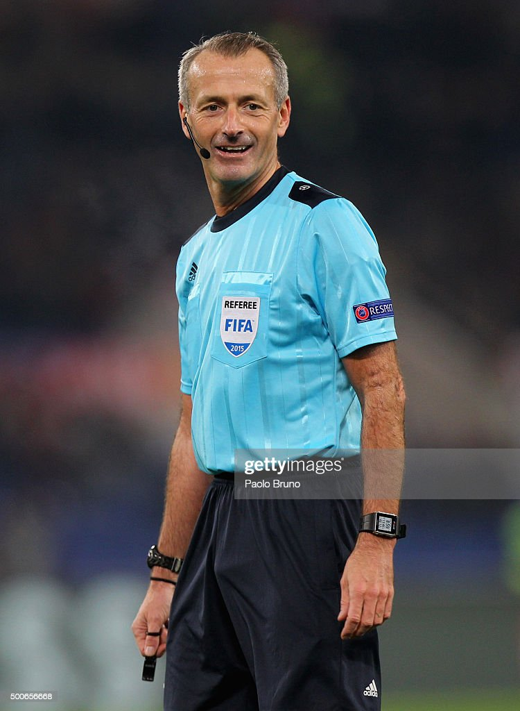 The referee <a gi-track='captionPersonalityLinkClicked' href=/galleries/search?phrase=Martin+Atkinson&family=editorial&specificpeople=703318 ng-click='$event.stopPropagation()'>Martin Atkinson</a> looks on during the UEFA Champions League group E match between AS Roma and FC BATE Borisov on December 9, 2015 in Rome, Italy.
