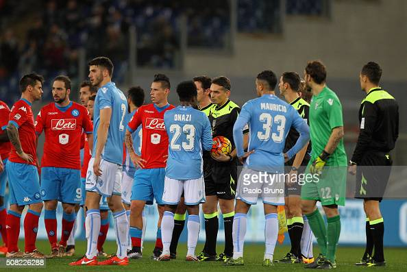 The referee Massimiliano Irrati suspends temporarily the match for racist slogans during the Serie A match between SS Lazio and SSC Napoli at Stadio...