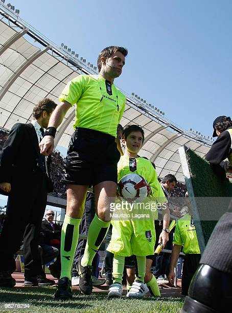The referee Nicola Rizzoli is shown before the Serie A match between AS Bari and AS Roma at Stadio San Nicola on April 3 2010 in Bari Italy