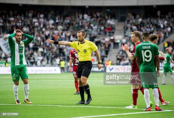 The referee point for penalty shoot during the Allsvenskan match between Hammarby IF and Ostersunds FK at Tele2 Arena on August 14 2017 in Stockholm...