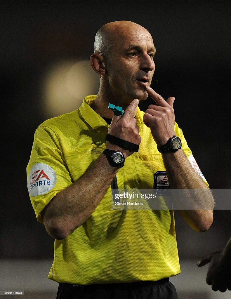 The referee Roger East during the Sky Bet Championship Play Off semi final first leg match between Brighton & Hove Albion and Derby County at Amex Stadium on May 8, 2014 in Brighton, England.
