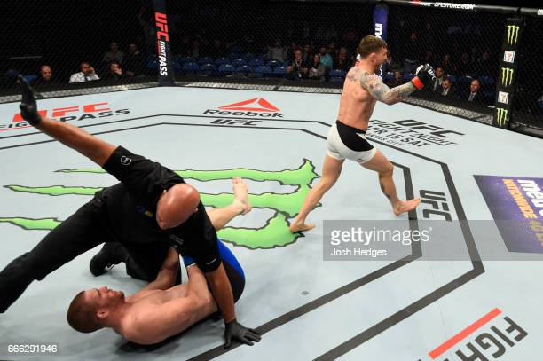 The referee stops the fight as Gregor Gillespie celebrates his knockout victory over Andrew Holbrook in their lightweight bout during the UFC 210...