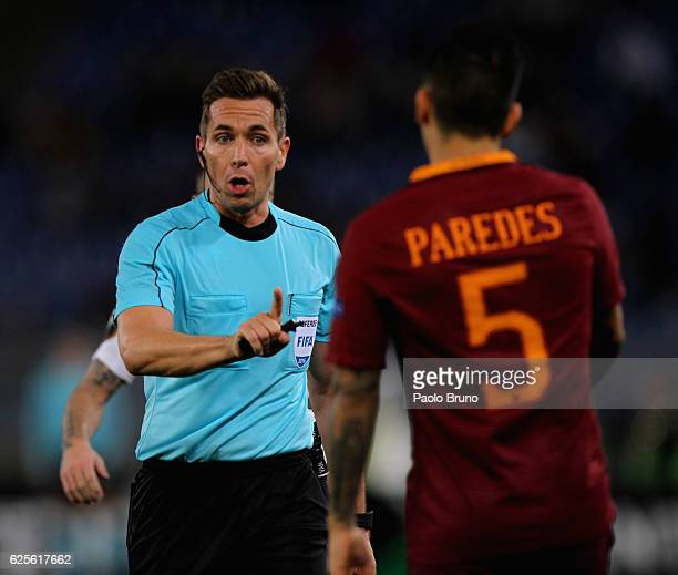 The referee Tobias Stieler reacts during the UEFA Europa League match between AS Roma and FC Viktoria Plzen at Olimpico Stadium on November 24 2016...