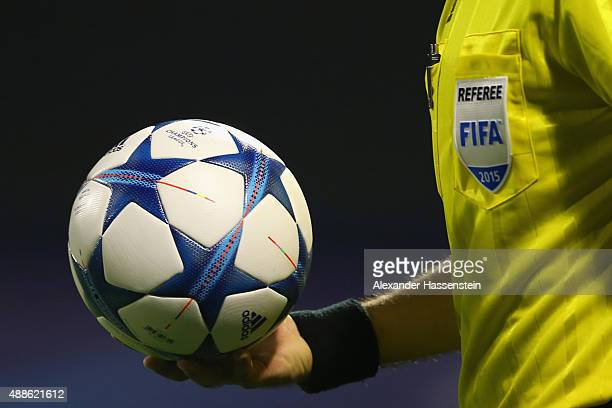 The referee walks in with the official matchball for the UEFA Champions League Group F match between Dinamo Zagreb and Arsenal London at Maksimir...