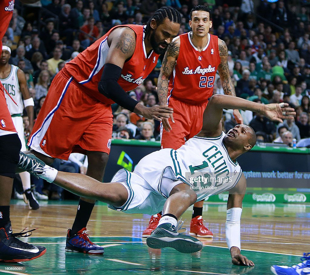 The referees looked at this play but determined that it was not a flagrant foul on the Clippers' Rony Turiaf, as he sent the Celtics' Leandro Barbosa to the parquet hard. The Boston Celtics hosted the Los Angeles Clippers in an NBA regular season game at the TD Garden.
