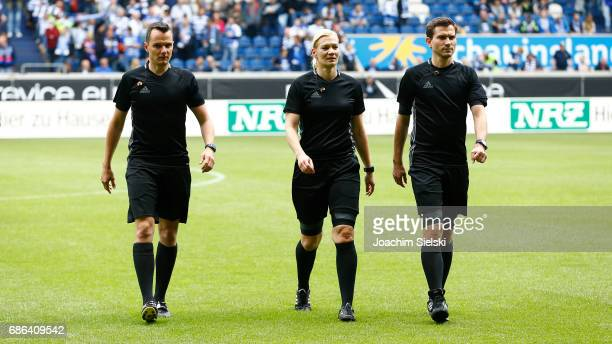 The Referees Markus Buesing Bibiana Steinhaus and Marcel Unger before the third league match between MSV Duisburg and FSV Zwickau at schauinsland...