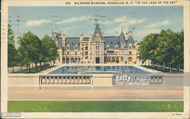 The reflecting pool and facade of the Biltmore Estate in Asheville North Carolina 1927