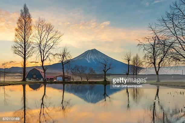 The reflection of Mt.Fuji , Japan