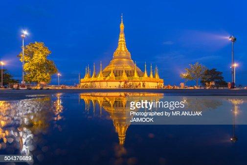 The reflection of Shwedagon Pagoda, Myanmar