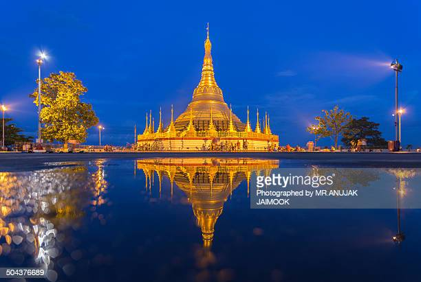 The reflection of Shwedagon Pagoda, Myanmar