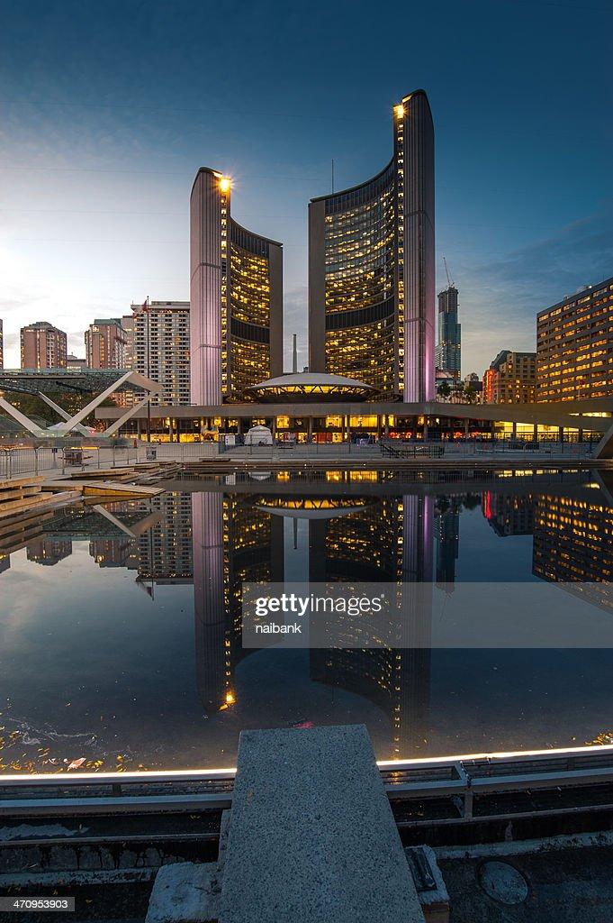 The reflection of Toronto city hall : Stock Photo