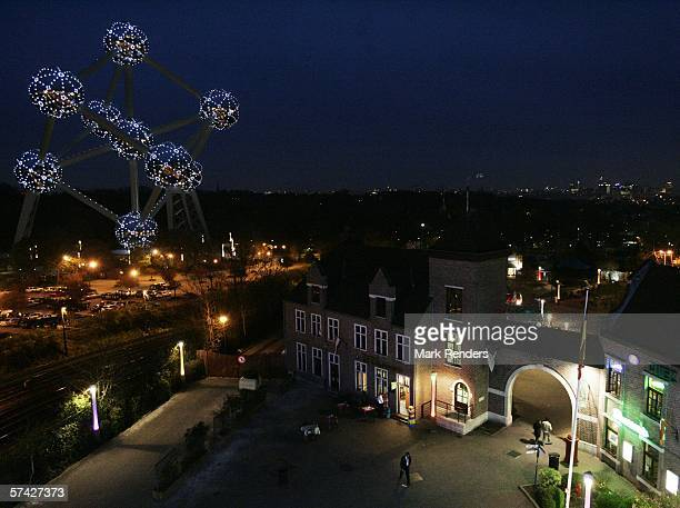 The refurbished Atomium is seen following serious renovation last year on April 25 2006 in Brussels Belgium The Atomium is a giant model of the...