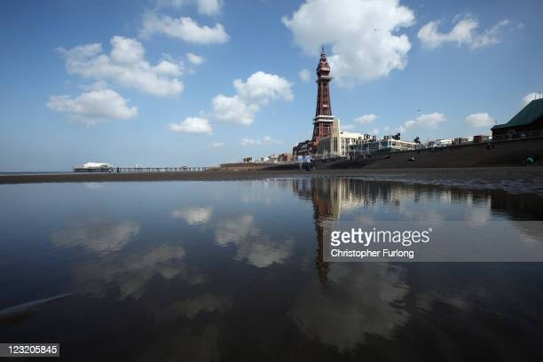 The refurbished Blackpool Tower is refelected in a pool on the beach on September 1 2011 in Blackpool England After a GBP £20 million refurbishment...