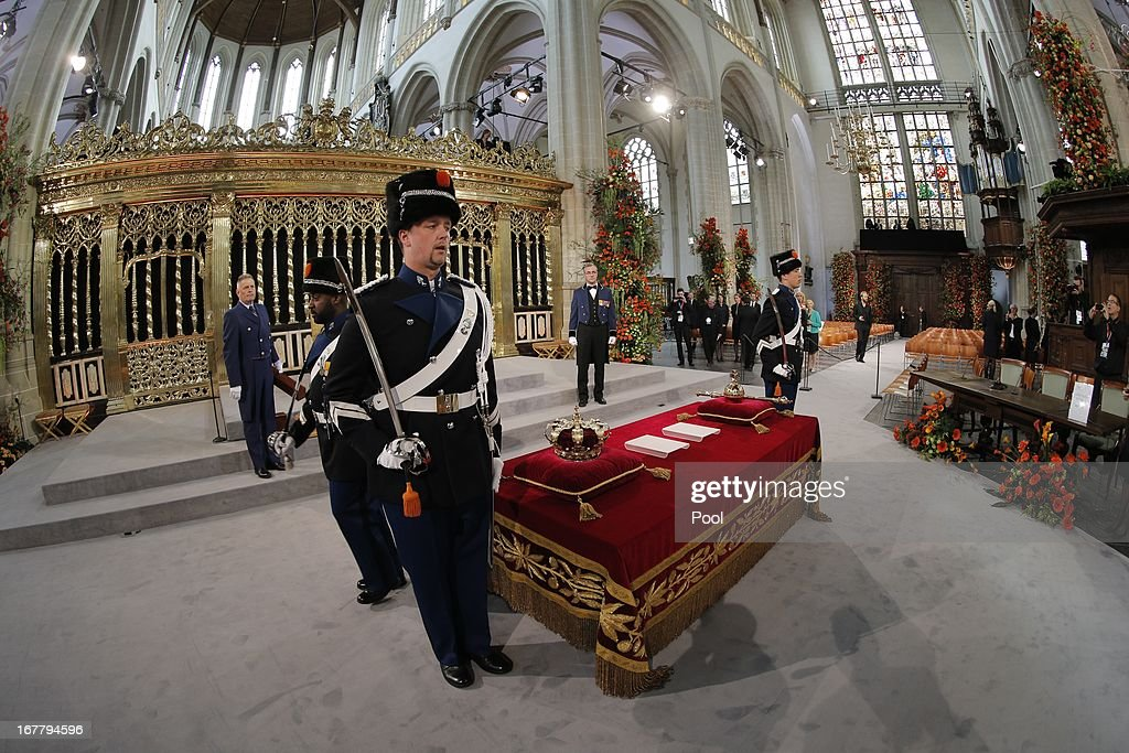 The regalia (Crown, Sceptre, Globus Cruciger and Sword of State) are displayed before the inauguration of HM King Willem Alexander of the Netherlands and HRH Princess Beatrix of the Netherlands at New Church on April 30, 2013 in Amsterdam, Netherlands.