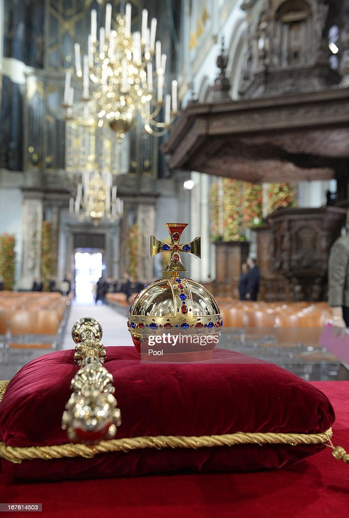 The regalia (Crown, Sceptre, Globus Cruciger and Sword of State) lie at the credence-table prior to the inauguration ceremony for King Willem-Alexander of the Netherlands at Nieuwe Kerk on April 30, 2013 in Amsterdam, Netherlands.