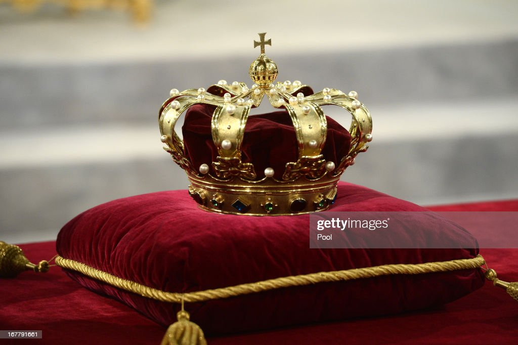 The regalia (Crown, Sceptre, Globus Cruciger and Sword of State) lie at the credence-table prior to the inauguration of HM King Willem Alexander of the Netherlands at New Church on April 30, 2013 in Amsterdam, Netherlands.