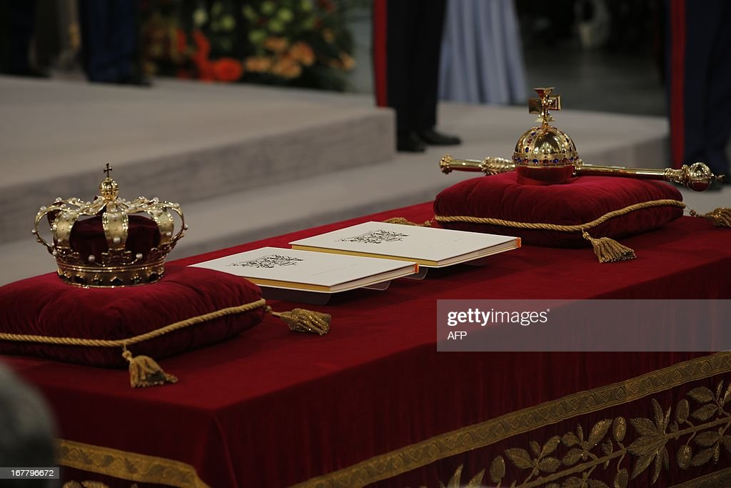 The regalia (Crown, Sceptre, Globus Cruciger and Sword of State) lie on the credence-table prior to the inauguration of King Willem-Alexander at Nieuwe Kerk or New Church in Amsterdam on April 30, 2013. DEJONG