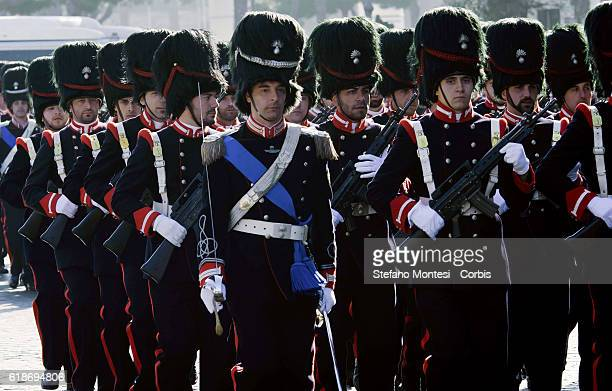 The Regiment of Sardinian Grenadiers during the parade in honor of Don Alberto Genovese Duke St Peter that in 1776 donated it to the Regiment 120...