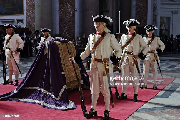 The Regiment of Sardinian Grenadiers in uniform vintage inside the Basilica of St Mary of the Angels and the Martyrs where it is celebrated a Mass in...