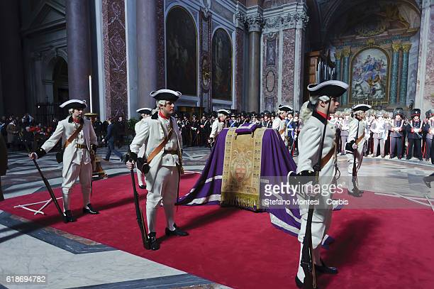 'nROME ITALY FEBRAURY 19 The Regiment of Sardinian Grenadiers in uniform vintage inside the Basilica of St Mary of the Angels and the Martyrs where...