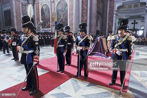 The Regiment of Sardinian Grenadiers inside the Basilica of St Mary of the Angels and the Martyrs where it is celebrated a Mass in honor of Don...