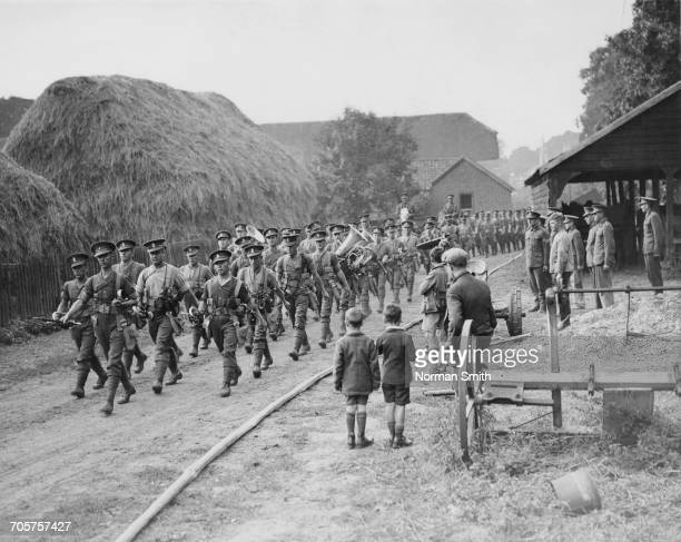 The regimental band of the 2nd Battalion Royal Ulster Regiment leads the soldiers of the battalion on the march from Colchester to Gravesend after...