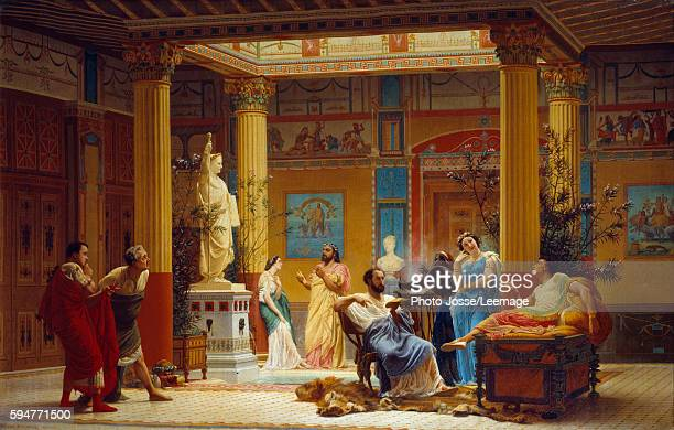 The Rehearsal of the 'Flute Player' and of the 'Wife of Diomede' in the atrium of the Pompeian House of Prince Napoleon in Paris 1860 Painting by...