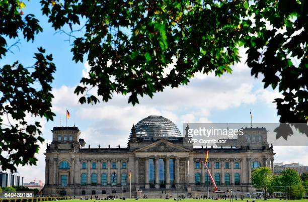 The Reichstag building seat of the German lower house of Parliament Bundestag is pictured in Berlin on September 19 5 days before Germans head to the...