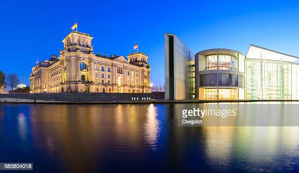The Reichstag Parliament in Berlin at twilight, Germany