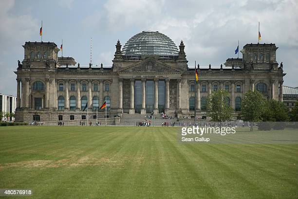 The Reichstag seat of the German parliament the Bundestag stands on July 13 2015 in Berlin Germany Earlier in the day Greek and European Union...