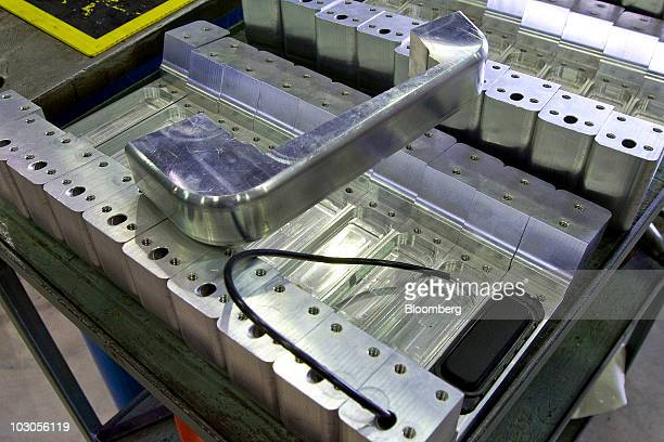 The reinforced door handles for the Conquest Knight XV armored sport utility vehicle wait to be installed at the company's assembly facility in...