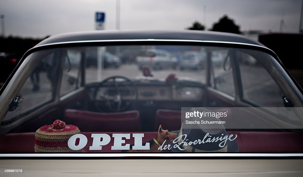'OPEL the reliable' is written on the rear window of an old car in front of the Opel factory on December 5 2014 in Bochum Germany Opel which is a...