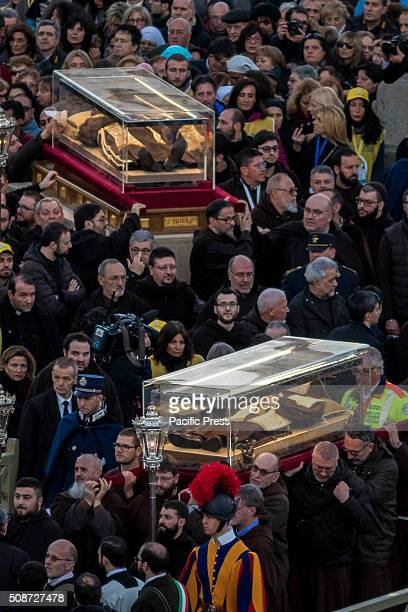 The relics of Saint Pio of Pietrelcina better known as Padre Pio and Saint Leopold Mandic arrive in in St Peter's Square at the Vatican Padre Pio...
