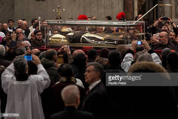 The relics of Saint Pio of Pietrelcina better known as Padre Pio and Saint Leopold Mandic arrive in in St Peter Basilica at the Vatican Padre Pio...