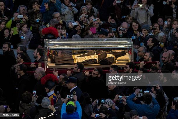 The relics of Saint Pio of Pietrelcina better known as Padre Pio is carried in St Peter's Square at the Vatican Padre Pio became famous for bearing...