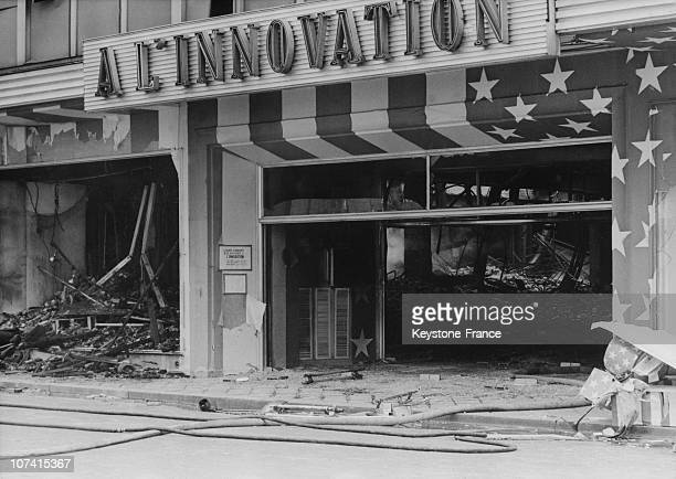 The Remains Burned To Ashes Of The Shop 'The Innovation' At Rue Neuve In Brussels On