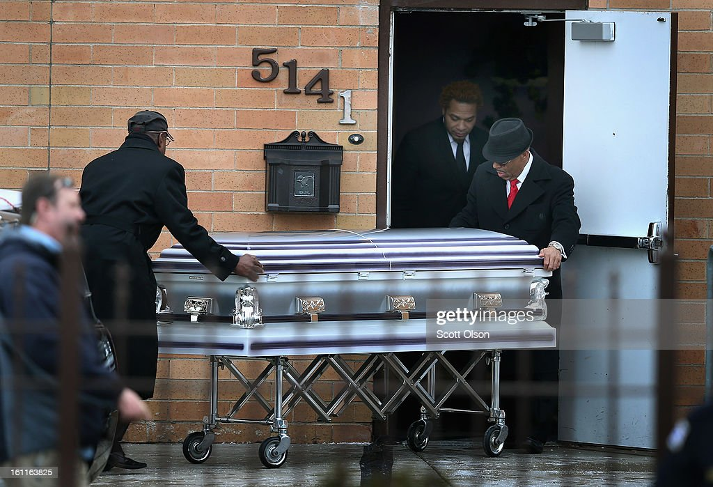 The remains of 15-year-old Hadiya Pendleton arrive at the Greater Harvest M.B. Church for her funeral on February 9, 2013, in Chicago, Illinois. Hadiya was killed on January 29, when a gunman opened fire on her and some friends while they were standing under a shelter on a warm rainy afternoon in a park about a mile from President Obama's Chicago home. First lady Michelle Obama attended the funeral with Senior White House Adviser Valerie Jarrett and Secretary of Education Arne Duncan.
