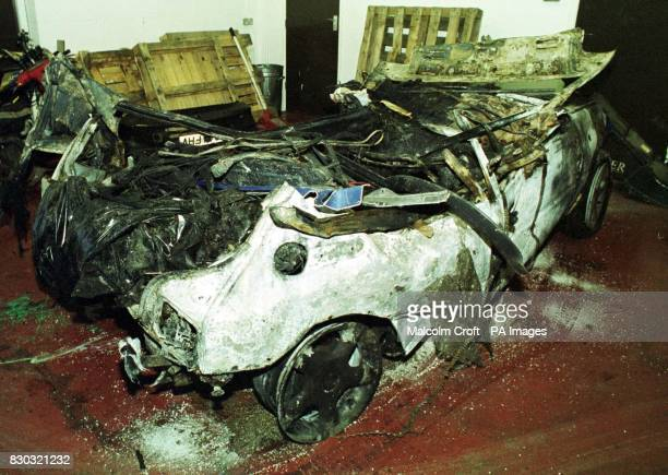 The remains of a blue Peugeot 205 GTI which crashed outside Macclesfield Cheshire in which 3 people died and 1 was left seriously injured One of the...