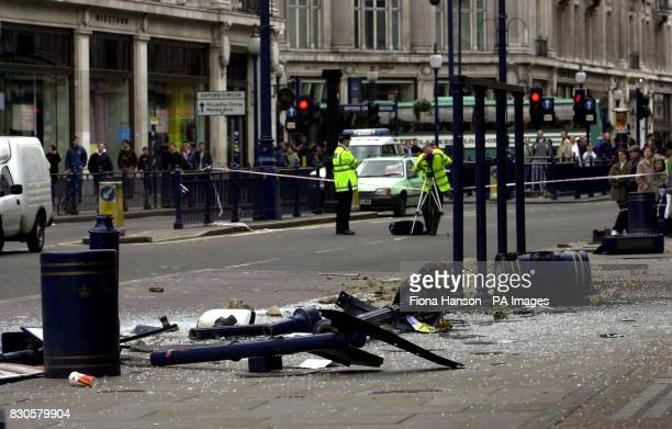 The remains of a bus shelter in Regent street London where a German tourist coach collided with it before crashing into a Boots chemist store...