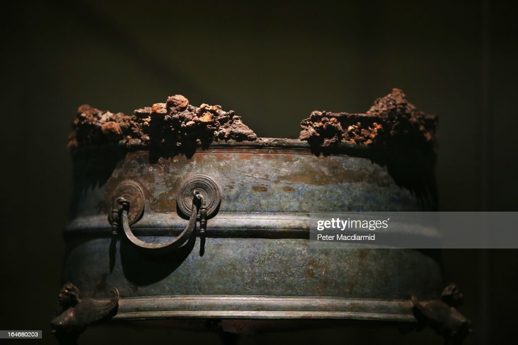 The remains of a charcoal filled brazier are displayed at the Life And Death In Pompeii And Herculaneum exhibition at The British Museum on March 26...