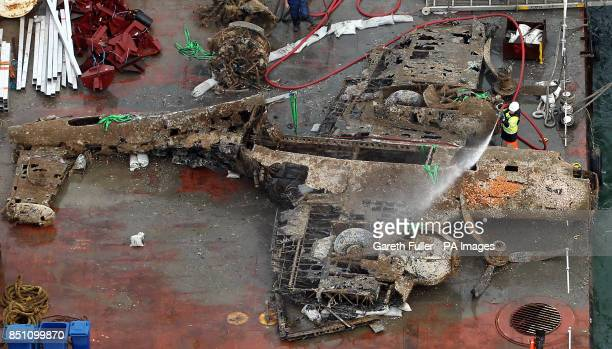 The remains of a crashed World War II Dornier bomber the only surviving German Second World War Dornier Do 17 bomber lays on a barge near Deal in the...