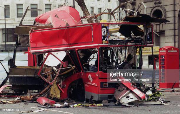 The remains of a No 171 doubledecker bus lies in a London street after a bomb exploded last night ripping the vehicle apart IRA bomber Edward O'Brien...