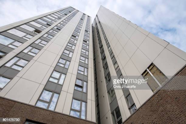 The remains of a section of cladding taken away for testing is seen on the Bray tower block on the Chalcots Estate on June 26 2017 in London England...