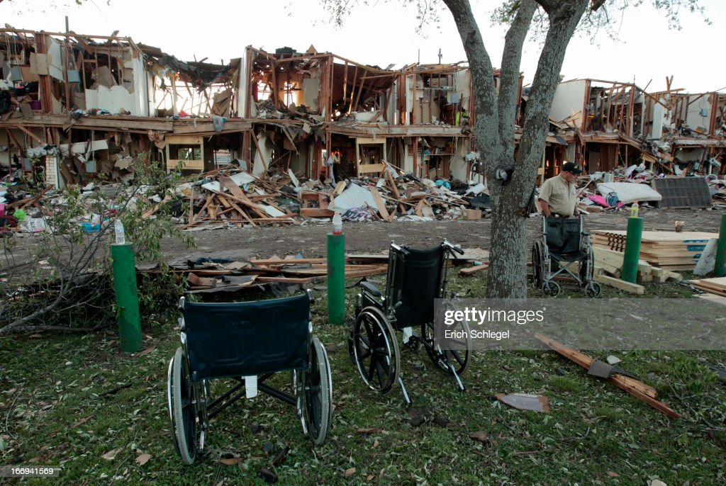The remains of an apartment complex next to the fertilizer plant that exploded yesterday afternoon on April 18, 2013 in West, Texas. According to West Mayor Tommy Muska, around 14 people, including 10 first responders, were killed and more than 150 people were injured when the fertilizer company caught fire and exploded, leaving damaged buildings for blocks in every direction.